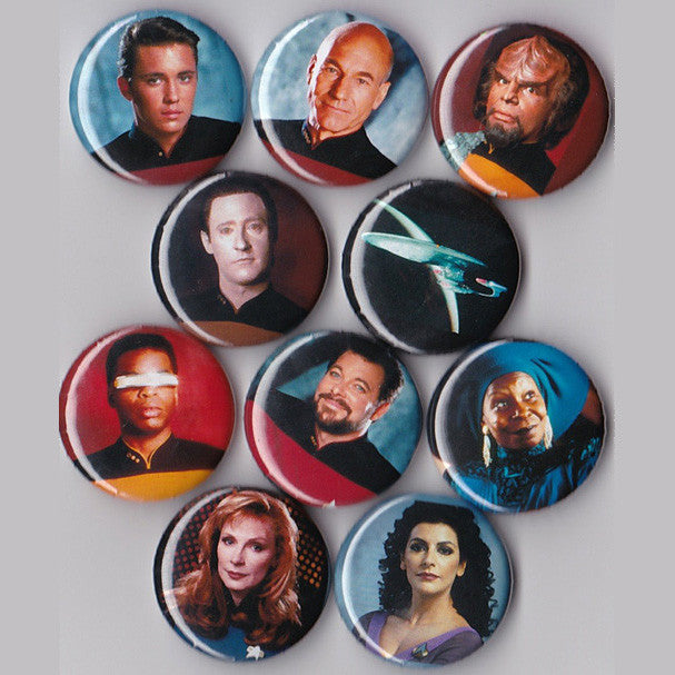 Star Trek The Next Generation Pinback Buttons set of 10 - Pindependent Pinbacks
