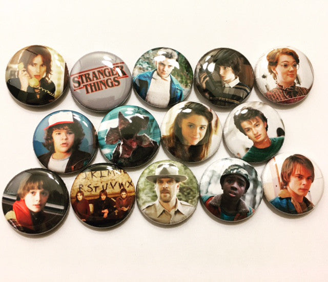 Stranger Things Pinback Buttons set of 14 Pins - Pindependent Pinbacks