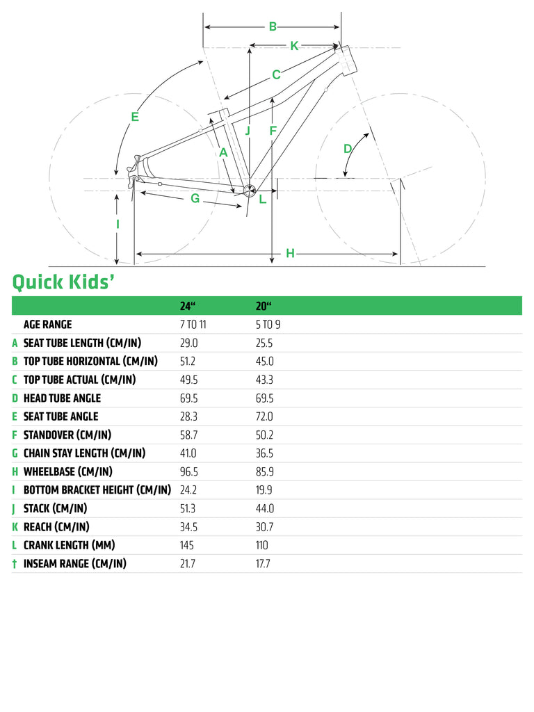 """Cannondale Quick Kid's 20 & 24"""" Sizing"""