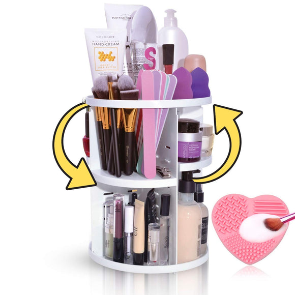 360 Rotating Makeup Organizer Cosmetic Storage Spinning Organizer - Perfect Life Ideas