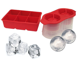 Silicone Ice Cube Tray and Ice Ball Set 2 Piece Set - Make Perfect 6 Large Cubes And 2 Round Spheres For Whiskey, Scotch, Iced Tea, Juices - Perfect Life Ideas