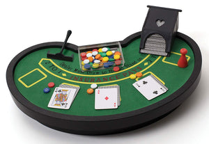 Desktop Miniature Blackjack Table Set with Mini Card Deck Poker Chips - Perfect Life Ideas