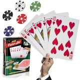 Large Poker Playing Cards Set -Jumbo Sized Game Card Deck and Chip Kit - Perfect Life Ideas