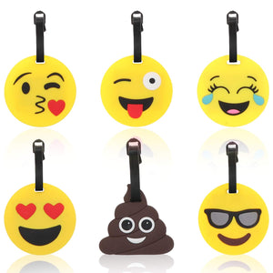 Cute Luggage Tags for Kids - 6 Pcs Set Emojis Silicone Luggage Tag - Perfect Life Ideas
