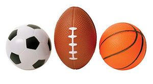 3 Pack Mini Sports Stress Balls Set - Soccer Basketball And Football Multi Use Reliever Relax Ball - Perfect Life Ideas