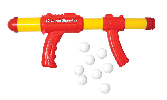 Snowball Fight with Ball Launcher Shooter - No Battery Needed Snowblaster with 8 Fake SnowBalls - Air Popper Snowball Blaster Gun For Indoor Or Outdoor Use - Fun Snow Toys for Kids - Perfect Life Ideas