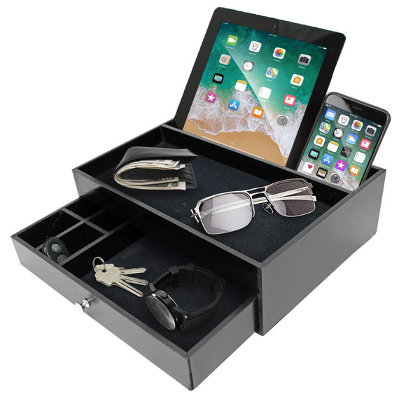 Valet Organizer Key Tray for Men - Nightstand Catchall Tray as Black Wood Men's Jewelry Watch Box Organizer Valet Stand for Entryway or Dresser - Tablet & Cell Phone Charging Station - Great Gift Idea - Perfect Life Ideas