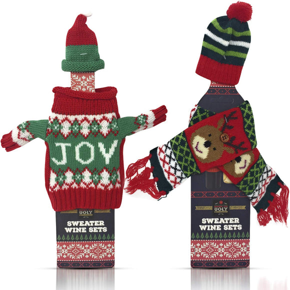 Christmas Wine Bottle Cover Decorations - Xmas Sweater Scarf with Hat - Perfect Life Ideas