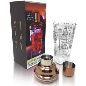 Glass Drink Martini Cocktail Shaker with Measurements and Recipes on Mixer - Bartender Kit Makes Professional Bar Drinks at Home - Copper Tone Jigger and Lid with Anti Leak Silicone Suction Seal - Perfect Life Ideas