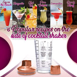 Drink Martini Cocktail Shaker with Measurements and Recipes on Mixer - Perfect Life Ideas