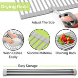 Over The Sink Dish Drying Rack - Collapsible Roll Up Silicone Covered Stainless Steel Dish Drainer Kitchen Sink Caddy Mat Works also as Heat Resistant Trivets for Hot Dishes - No Rusting or Slipping - Perfect Life Ideas