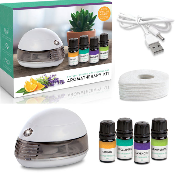 Aromatherapy Essential Oil Diffuser with Oils Kit - Top 4 Pure Defusser Essential Oils Set Includes Orange, Lavender, Eucalyptus and Lemongrass - Air Defusers Work with Batteries or USB - Perfect Life Ideas