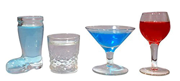 Funny Shot Glasses Bar Drinking 4 Pcs Set Cool Unique Clear Glass - Perfect Life Ideas