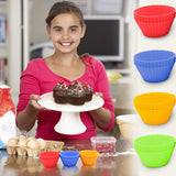 12 Silicone Baking Cups Cupcake Liners - Nonstick Muffin Molds - Perfect Life Ideas