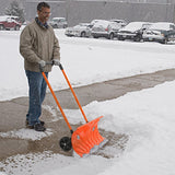 Snow Plow Shovel Pusher with Wheels – Snow Removal Tools for Driveway as a Heavy Duty Wheeled Rolling Snow Pusher to Clear the Snow on Driveway Sidewalk or Slippery Roads Effortlessly - Perfect Life Ideas