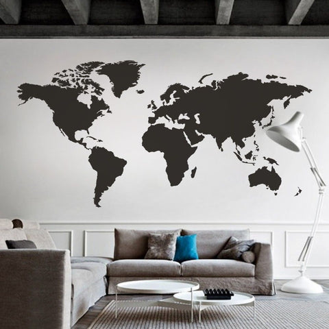 Black map of the world wall sticker decal vinyl art sticker home 100x50 world map wall decal vinyl office inspiration home mural decor large gumiabroncs Image collections
