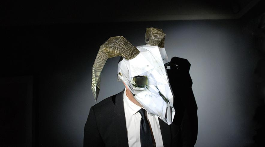 Dead Ram Skull Paper Mask night