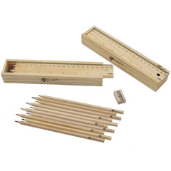 12-Piece Colour Pencil, Sharpener And Ruler Set In Box