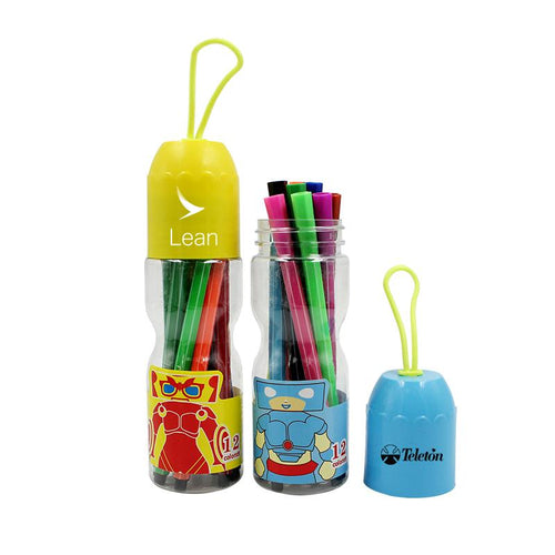 Watercolour Marker Set In Bottle With Cartoon Character Design (12) CG Stationery Set One Dollar Only