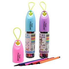 Watercolour Marker Set In Bottle With Heart-Shaped Strap (12) CG Stationery Set One Dollar Only