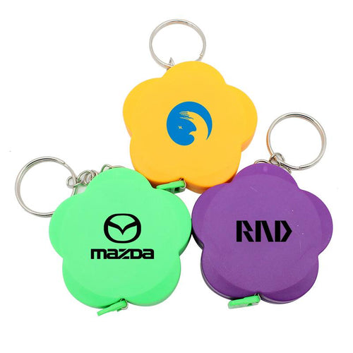 Flower Keychain With Tape Measure CG Keychains One Dollar Only