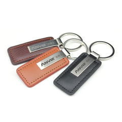 Rectangular Metal And Leather Keychain CG Keychains One Dollar Only
