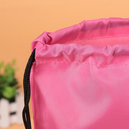 Nylon Drawstring Backpack With Zip Compartment