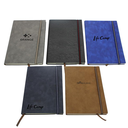 Business Paperback Notebook With  Pu Leather Cover And Elastic Band Closure