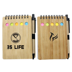 Notepad Set With Spiral-Bound Bamboo Cover CG Notepads One Dollar Only