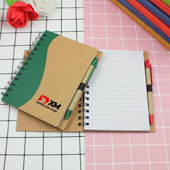 Spiral-Bound Notebook With Wavy Design