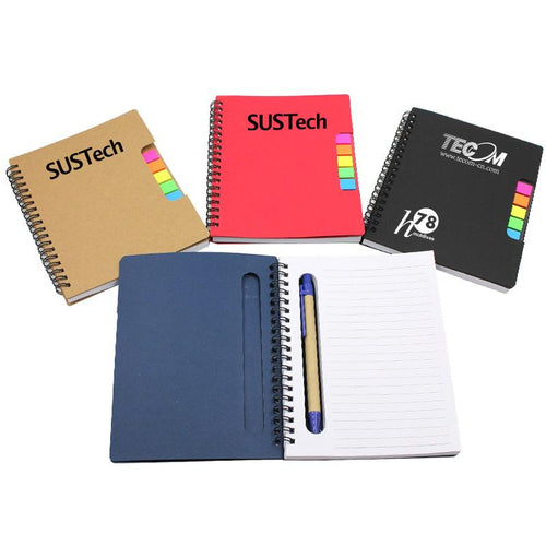 Office Notebook With Colourful Sticky Flags Set