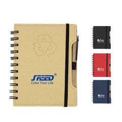 Spiral-bound Recycle Notebook with Pen and Elastic Band
