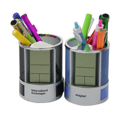 Steel Mesh Pen Holder With Electronic Calendar
