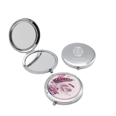 Round Flip Pocket Mirror with Feather Designs