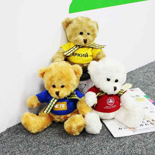 16cm Teddy Bear Plush Toy With T-Shirt And Checkered Ribbon