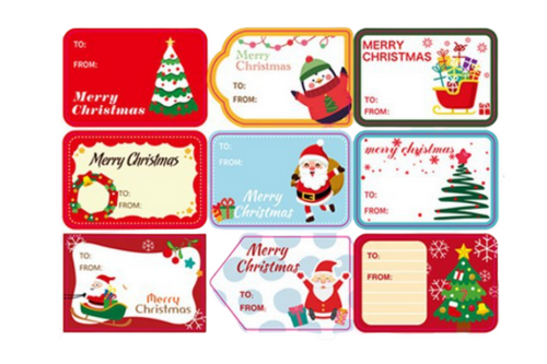 Christmas Theme Name Sticker Seasonal One Dollar Only
