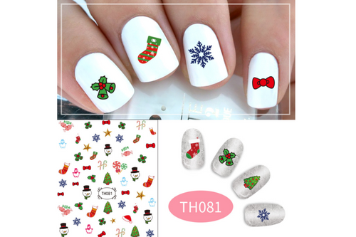 Christmas Theme Nail Art Stickers Seasonal One Dollar Only