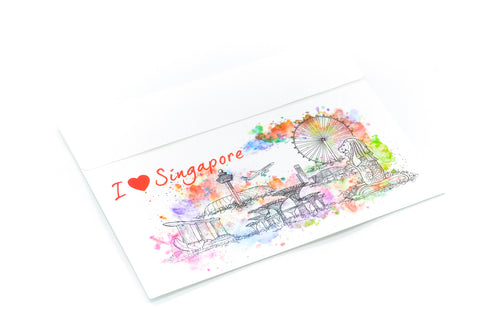 B4 Velcro File Folder With Singapore Skyline Watercolour Design Files and Folders One Dollar Only