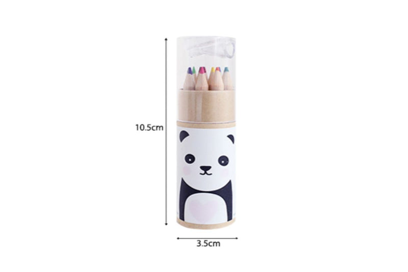 Animal Theme Tube Colour Pencil with Sharpener Colouring Materials One Dollar Only