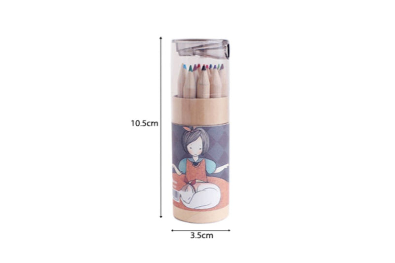 Sketch Girl Theme Tube Color Pencil with Sharpener Colouring Materials One Dollar Only
