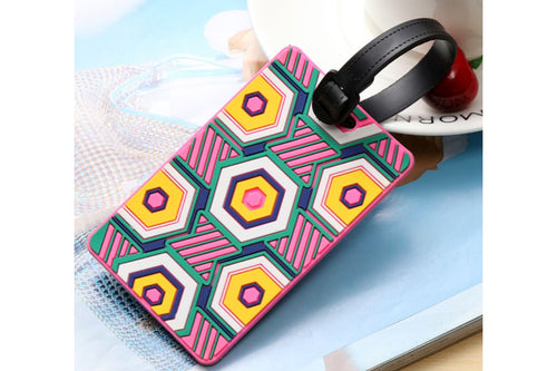 Geometric Abstract Design Bold Colors on Black Luggage Tag KEY CHAINS / LUGGAGE TAG One Dollar Only