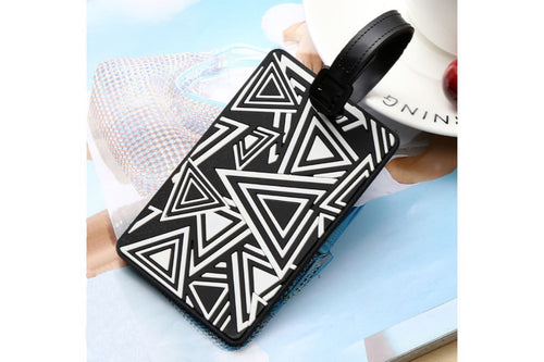 Geometric Abstract Design Monochrome Black and White Luggage Tag KEY CHAINS / LUGGAGE TAG One Dollar Only