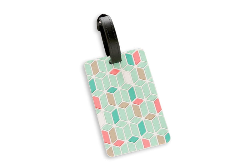 Geometric Abstract Design Pastel Colors Luggage Tag
