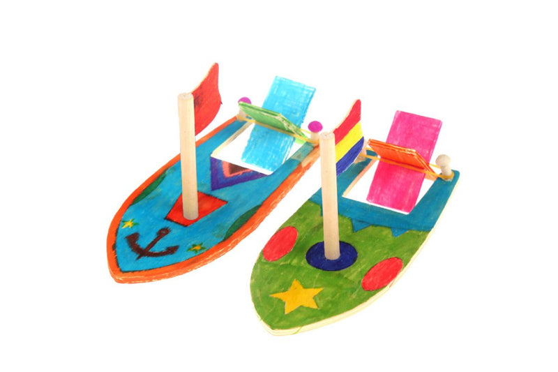 DIY Colouring Wooden Sailboat ART CRAFT DIY One Dollar Only