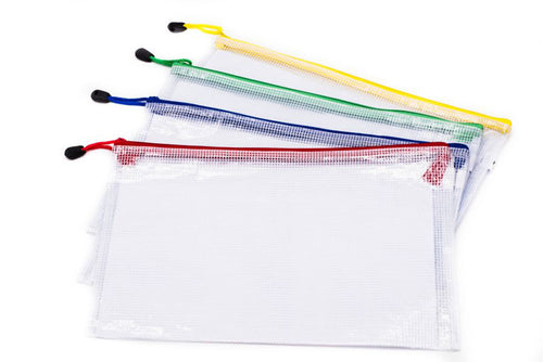A4 Netting Plastic Case White with Coloured Zip Trim