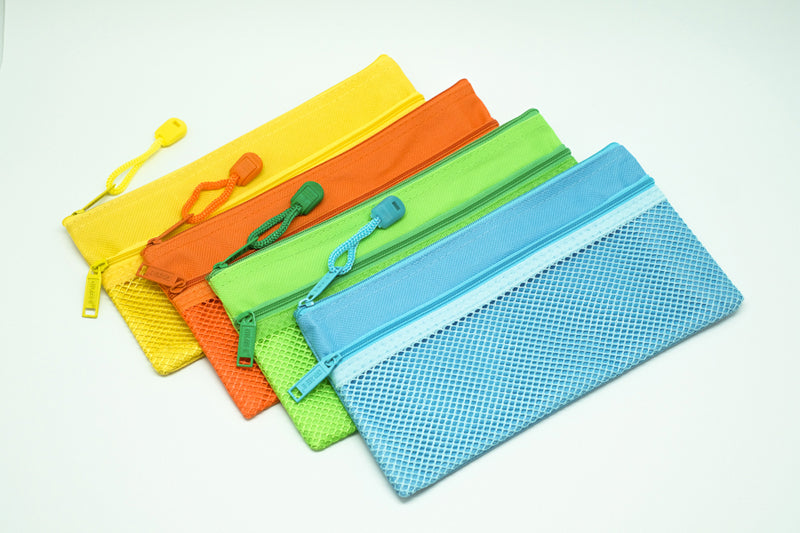 2 Compartment Fabric Neon Colour Zipper Pencil Case (PC) Cases One Dollar Only