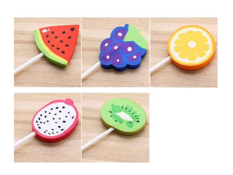 Fruit Lollipop Design Erasers ERASERS One Dollar Only