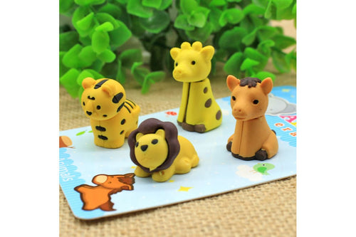 Mini Animal Themed 4 Piece Eraser Set Erasers One Dollar Only