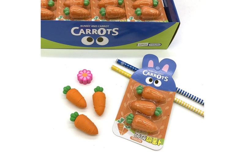 Baby Carrots 3 Piece Eraser Set Erasers One Dollar Only