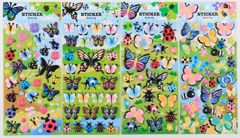 Puff Up Butterfly Theme Stickers Stickers One Dollar Only